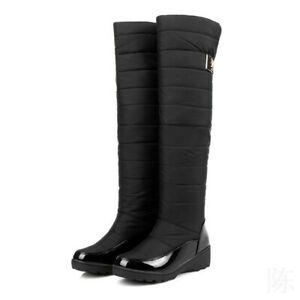 Womens Round Toe Knee High Boots Platform Heels Winter Fur Lined Non-Slip Shoes