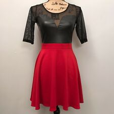 ViJo COUTURE Sexy Red / Black Dress - Size Small - Leather / Sheer A-Line Flare