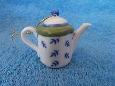 Green Blue & White Ceramic Teapot Christmas Ornament