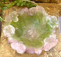 """New in Box Daum Pate De Verre Large 10.25"""" Crystal Roses Bowl # 01672"""