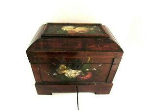 """Wood Box Lacquered Hand Painted Floral Scene Home Decor Organizer 12 1/2"""""""