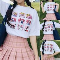 Women Harajuku Sailor Moon Kawaii Japanese Half-Sleeve Loose Tee T-Shirt Top #eh
