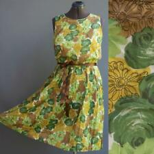 VTG 50s 60s Green Yellow Floral Cotton Gauze Dress Blouson Bodice Pleat Skirt M