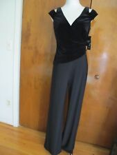 Ralph Lauren Women's Black Evening Velour Top Detailed Jumpsuit New