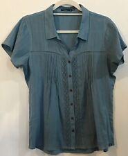 Prana M Blue Pintuck Crochet Short Sleeve Collar Button Blouse