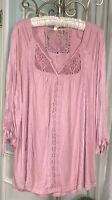 NEW Plus Size 1X Pink Blouse Lace Crochet Knit Shirt Top Peasant