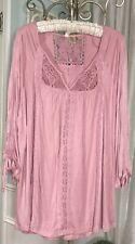 NEW~Plus Size 2X Pink Lace Crochet Knit Shirt Top Peasant Blouse