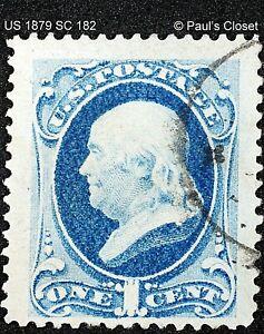 US 1¢ FRANKLIN DK ULTRAMARINE SC 182 UNG 1879 HANDSTAMPED CNX PF COA VFINE