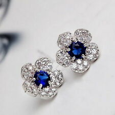 Elegant Women Fashion New Blue Crystal Flower Ear Studs Earrings Jewelry Gift
