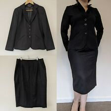 Perri Cutten sz 14 Black Wool Blend Pencil Skirt & Blazer Jacket Suit AS NEW