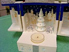 PartyLite Magical Music Box Tealight Candle Holder Christmas Gift Village Snow