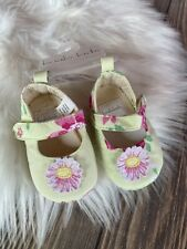 New Koala Kids Baby Crib Shoes Green Pink Floral Size 0 6 Months