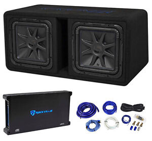 """Kicker 44DL7S122 Dual 12"""" 3000w L7 Solo-Baric L7S Loaded Subwoofer Box+Amp+Wires"""