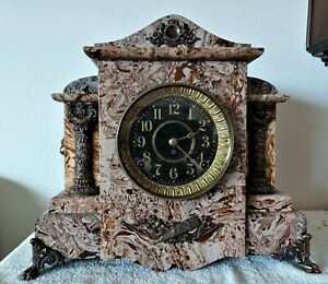 Antique 1894 Seth Thomas Adamantine Mantel Clock 8-Day Time & Strike
