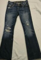 Abercrombi Ruehl Slim Fit  Womens Low Rise Flare Distressed Blue Jeans 34 x  31