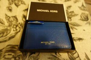 NEW Michael Kors Electric Blue Mens Harrison Card Case ID Wallet Leather, MSR$60