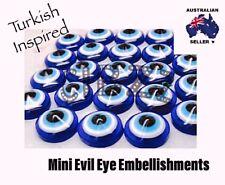 10x Turkish Evil Eye Flat Back 12mm Craft Resin Beads Embellishments Dark Blue