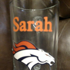 Denver Broncos beer stein personalized SARAH on the glass. 7 1/2 inches tall