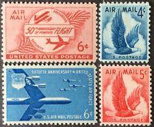 1953-58 4c-6c airmail singles, Scott #C47-50, MNH, VF