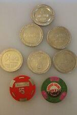 8 Vintage $5 Brass Harrahs Poker Chip $1 Slot Token (s)  Harveys Tahoe Reno etc