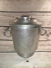 Vintage Nasco Aluminum Ice Bucket, Made in Italy, Lid, Double Walled, GUC