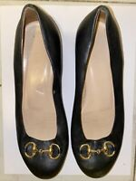 Authentic Ballet Flats GUCCI Horsebit Shoes Women 35.5 Black Leather