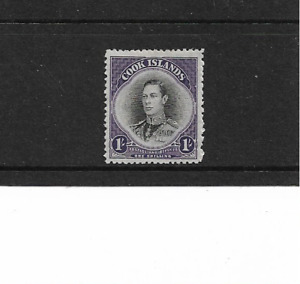1938 Cook Islands - 1/- Black And Purple - Lightly Mounted Mint.