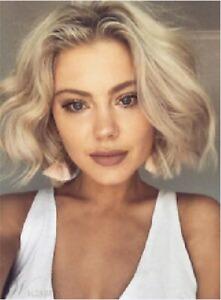 100% Human Hair! New Fashion Glamour Short Blonde Wavy Natural Women's Full Wigs