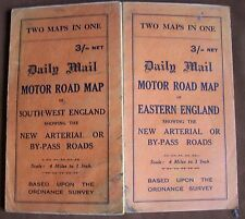 1920s 2 Maps in One Duplex Eastern & South West England 4 mile /inch Daily Mail