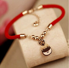 14K rose gold red rope Lucky cat charm Bracelet for luck and health