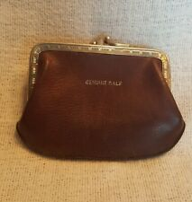 Antique Genuine Calf Large Change purse 2 Sided Circa 1930 Gently Used.