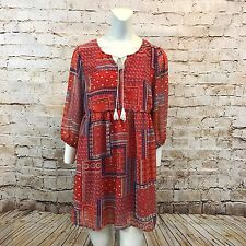 Umgee Womens Large Baby Doll Dress Tunic Red Blue Boho Gypsy Tassel Prairie