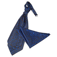 Black Blue Mens Pre-Tied Cravat Handkerchief Set Woven Swirl Patterned by DQT