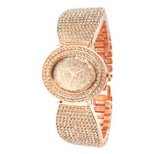 Alias Kim Oval Face Rose Gold Crystal Women Wrist Bracelet Bangle Quartz Watch