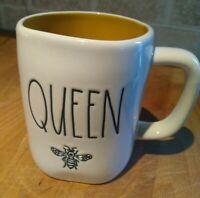 Rae Dunn Ceramic QUEEN BEE Coffee Cup Mug  Farmhouse LL Yellow Inside 2020 new