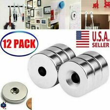 34 X 14 Inch Neodymium Rare Earth Countersunk Ring Magnets N52 12 Pack