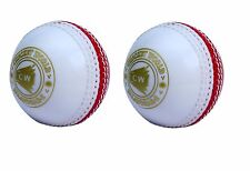 """2X CW INCREDIBLE /PVC /POLYSOFT /SPIN /PRACTICE CRICKET BALL """"WHITE AND RED"""""""