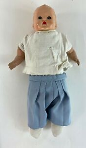 """Antique Large Baby Doll Composition Green Eyes Red Lips Blue Pants 15"""" 1930s"""