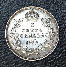 OLD CANADIAN COIN 1919 - 5 CENTS - .925 SILVER - George V - Nice HIGH GRADE