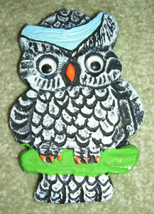 OWLS! Black & white plaster of Paris owl Christmas ornament