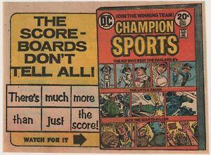 Original 1973 Comic Book Preview Ad for DC Comics Champion Sports #1