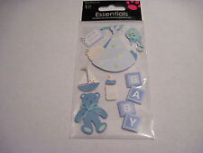 Scrapbooking Crafts Stickers Baby Boy Special Delivery Bear Bottle Blanket Boat