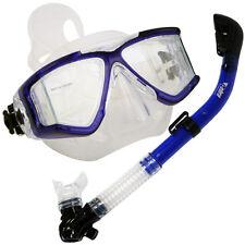 Scuba Dive Petite Panoramic Small Face Mask Dry Snorkel Gear Set