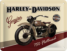 Harley Davidson Flathead Panneau en tôle 20x15 cm surface en relief USA Signe
