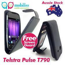 Telstra Pulse ZTE T790 Black PU Leather Flip Case Cover Screen Protector Guard