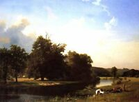"Art Oil painting Quiet summer landscape with canoe by the river canvas 24""x36"""