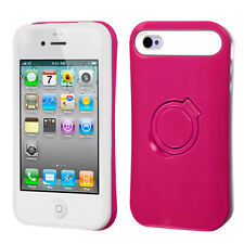 For iPhone 4 4S TPU Candy HYBRID GLOW RING Stand Case Phone Cover Hot Pink White