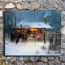 Western Cowboy Horse Winter Home Decor HD Canvas Print Picture Wall Art Painting