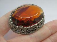 Vintage Oval Faceted Amber Glass Silver Tone Scottish Celtic  Brooch Kilt Pin