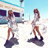 Women Boho Chiffon Kimono Shirt Cardigan Long Beach Cover Up Top Dress Blouse